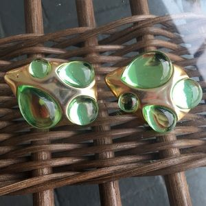 Vintage Mid Century Lime Green Clip on Earrings